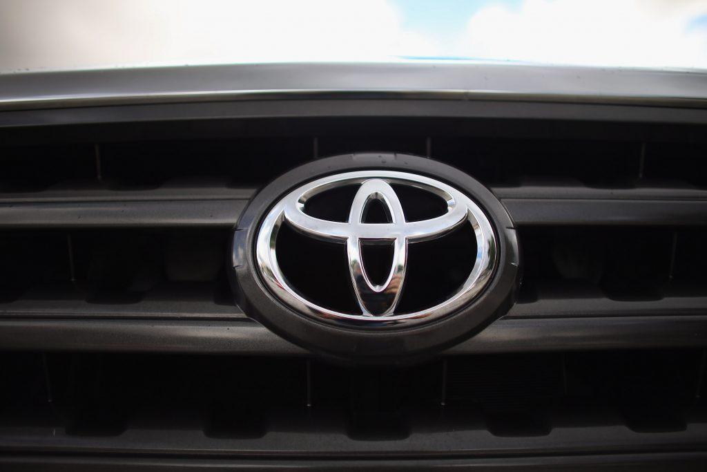 Toyota's logo on a Tundra pickup truck