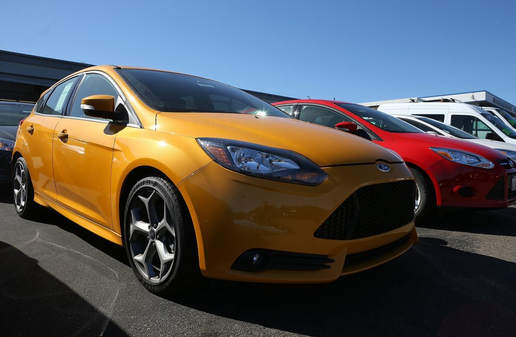 New Ford Focus cars at dealership