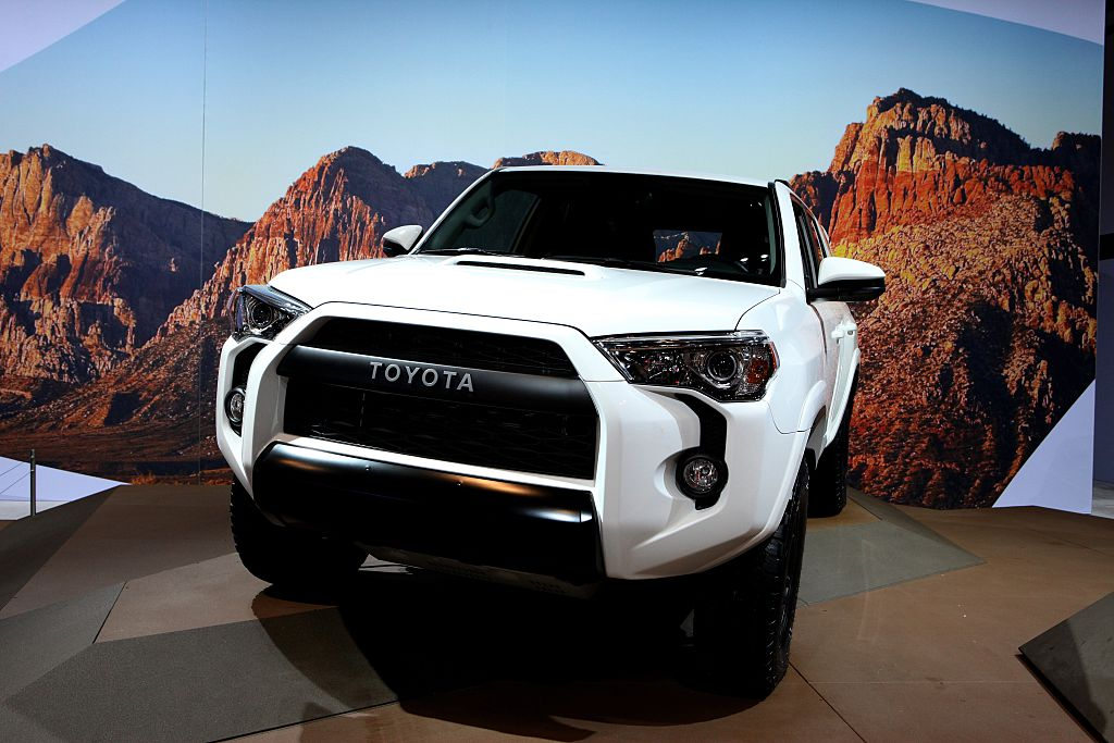 A white 2016 Toyota 4Runner on display at the Chicago auto show