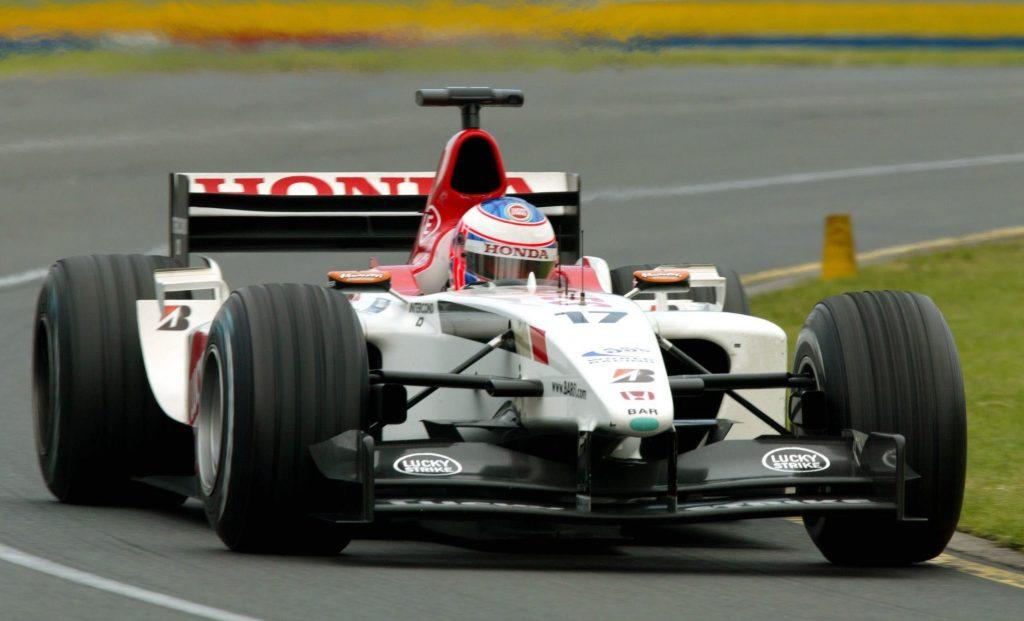 Jenson Button's red and white BAR Honda 007 Formula 1 car