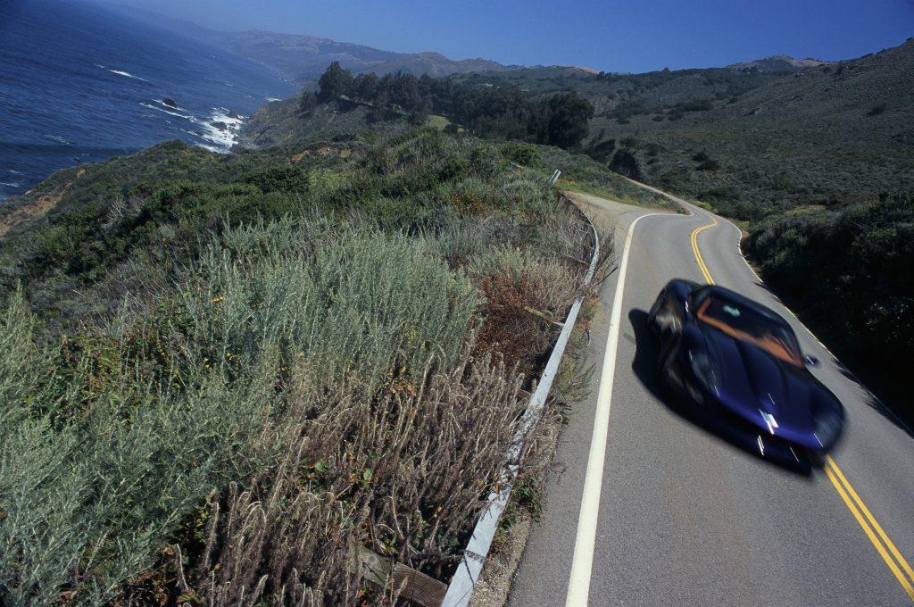 A C6 generation Corvette tears up a mountain road