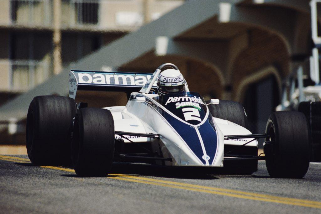Brabham's white and blue BT49D Formula 1 car