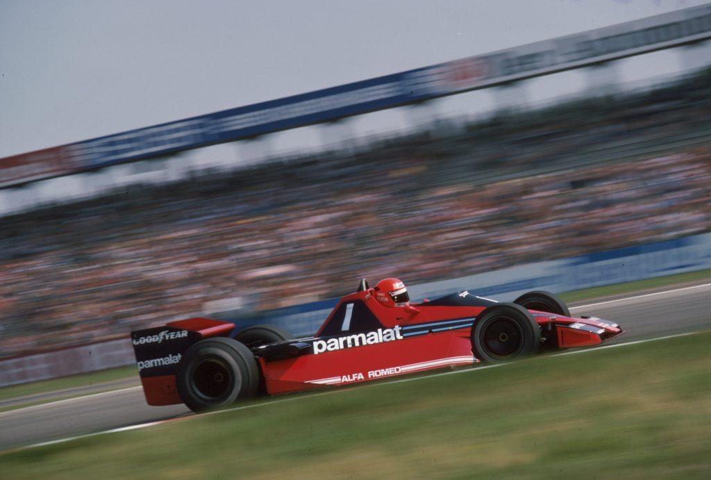 Niki Lauda in the red Brabham Formula 1 fan car