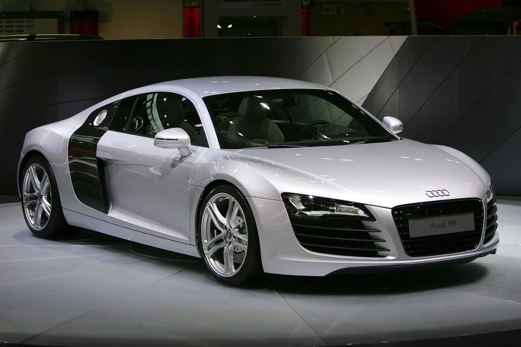 A silver Audi R8 sports car at an auto show in Los Angeles