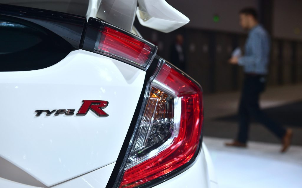 The Type R badge on the Honda Civic Type R