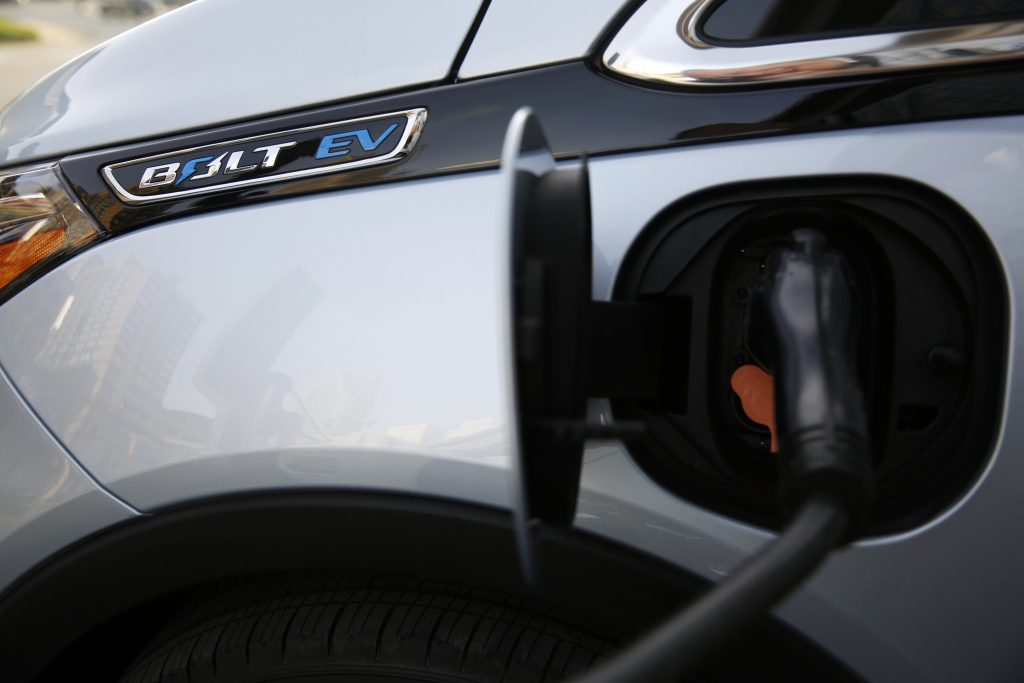 A close-up of the charging port on a Chevy Bolt EV