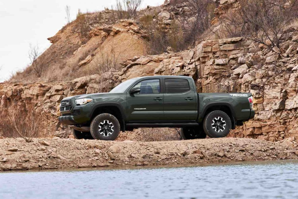 A green 2021 Toyota Tacoma, one of the best affordable new pickups under $30,000