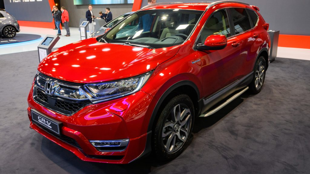 A red Honda CR-V at Brussels Expo on January 9, 2020 in Brussels, Belgium.