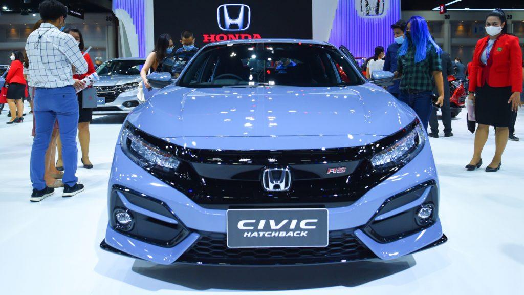 A blue Honda Civic car during at the 42nd Bangkok International Motor Show 2021 in Bangkok, Thailand.