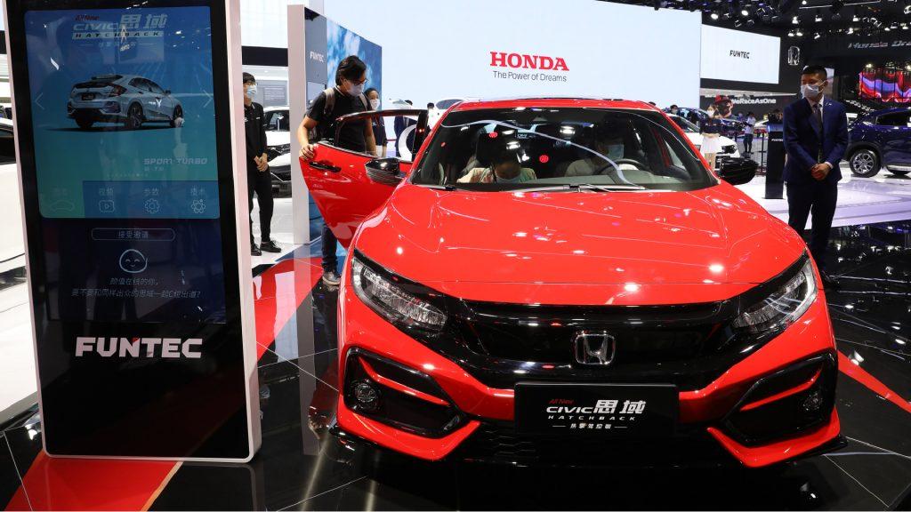 A Honda Civic sedan is on display during 2020 Beijing International Automotive Exhibition.