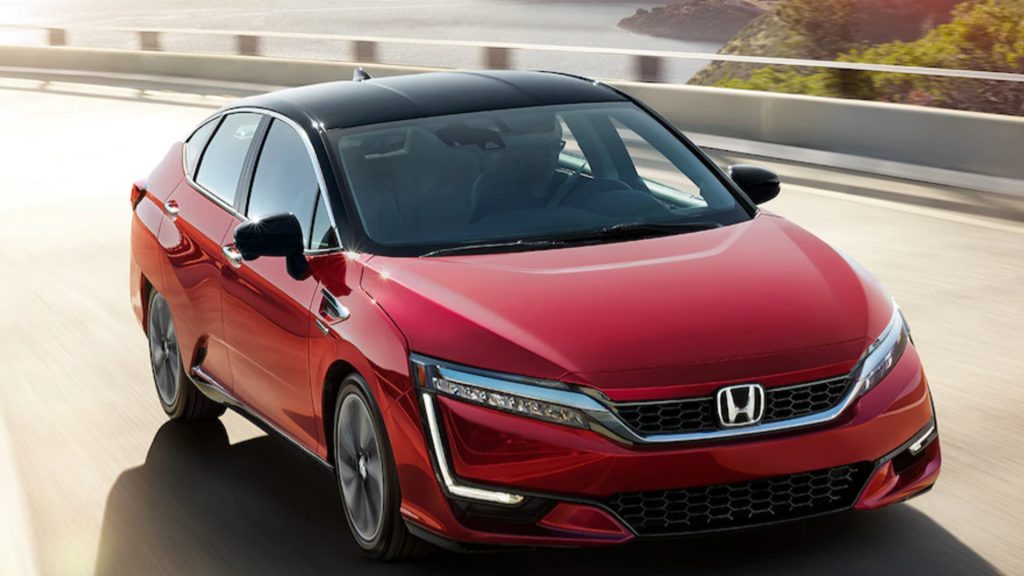 A red Honda Clarity.