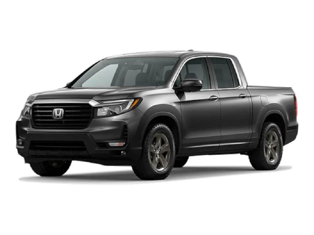 A dark gray 2021 Honda Ridgeline against a white background.