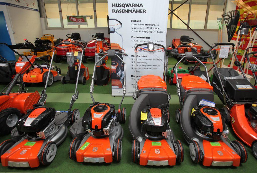 Husqvarna lawn mowers on display, Husqvarna is one of the best lawn mower brands