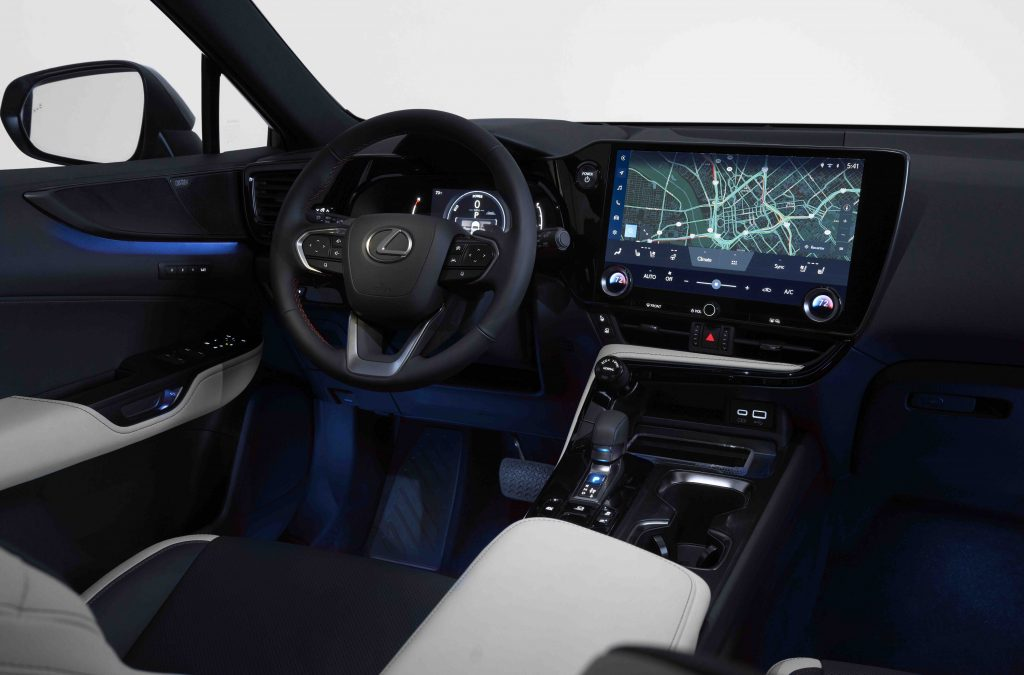 The interior of the new Lexus NX featuring the brand's new infotainment system.