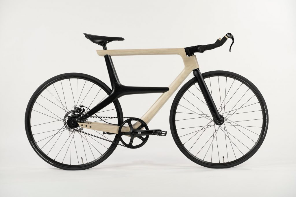 Iowa State Univ. wooden bicycle project side view