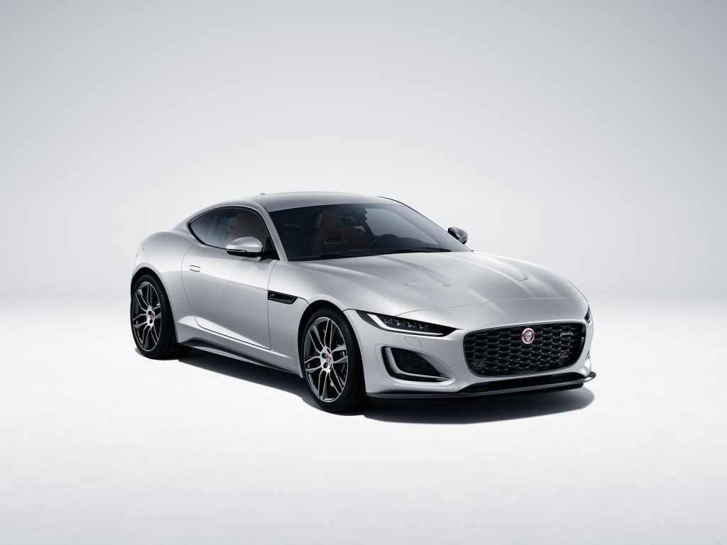 A silver 2022  Jaguar F-Type coupe