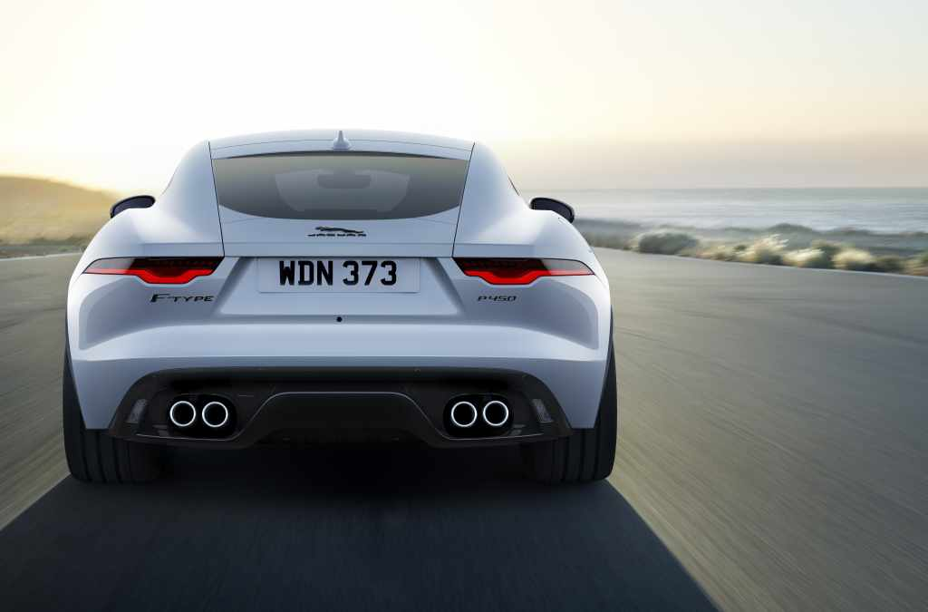 The rear of a silver 2022 Jaguar F-Type