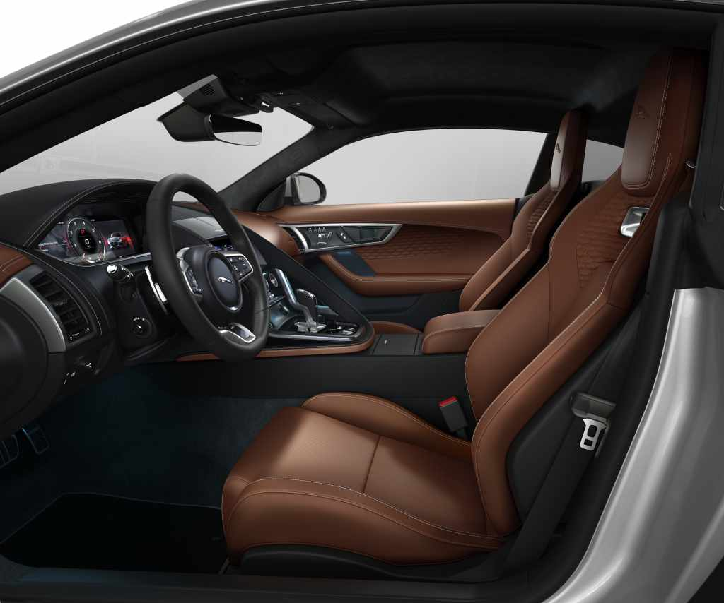 The brown leather interior of the Jaguar F-Type