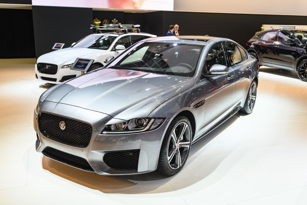 Silver Jaguar XF Chequered Flag Edition (R-Sport) luxury performance sedan on display at Brussels Expo