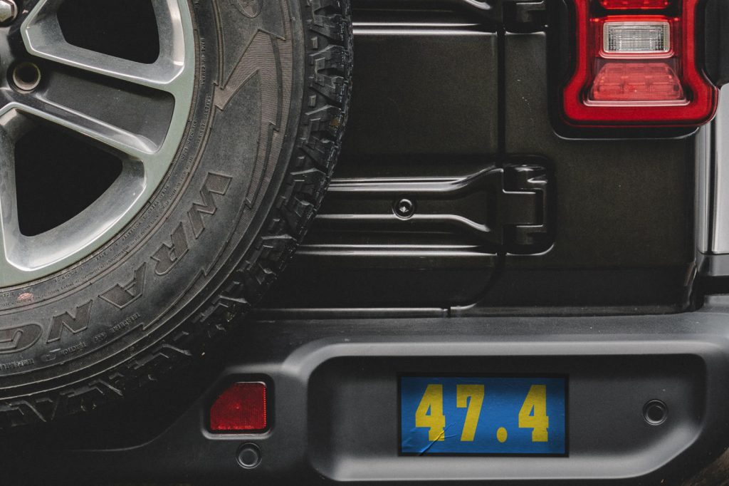 the second Jeep Wrangler teaser shows a jeep with 47.4 written on the back