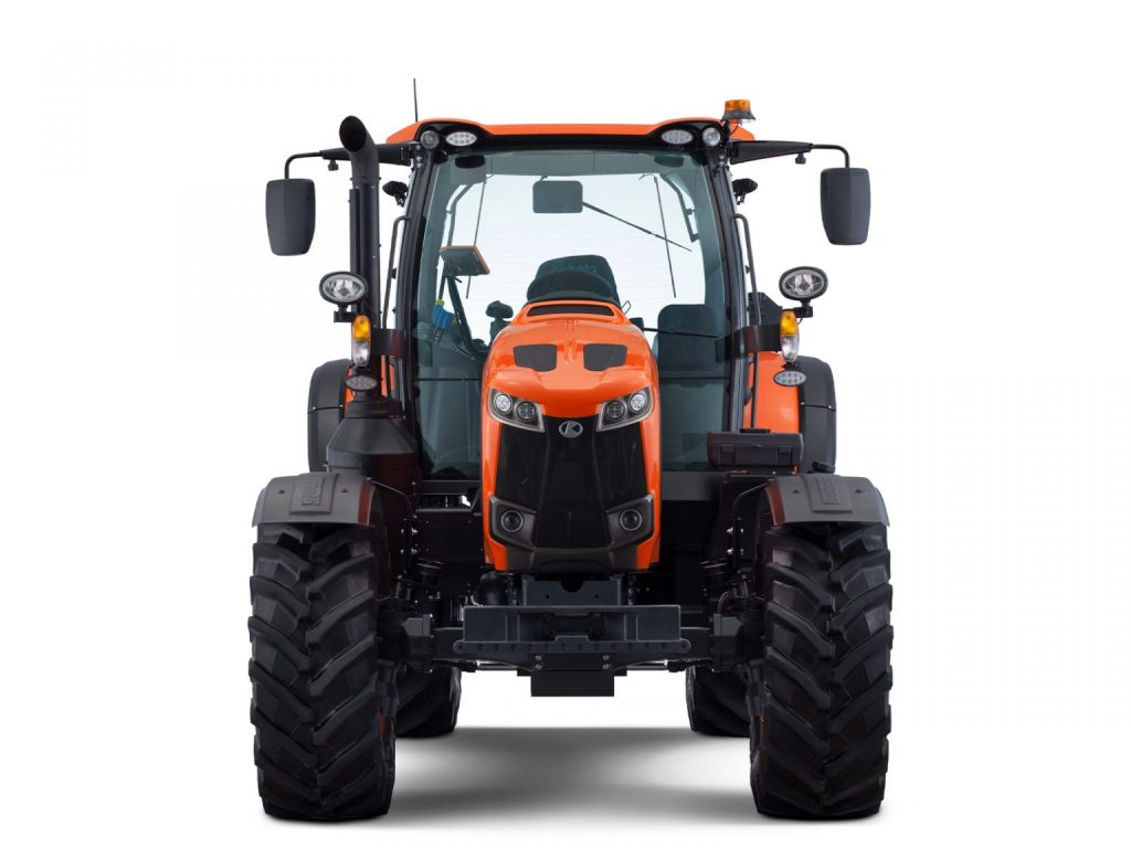 KUBOTA M 6142 utility tractor in press photo against a white backdrop