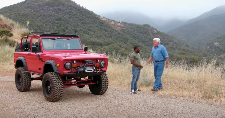 Kevin Hart red Bronco with Hart and Jay Leno