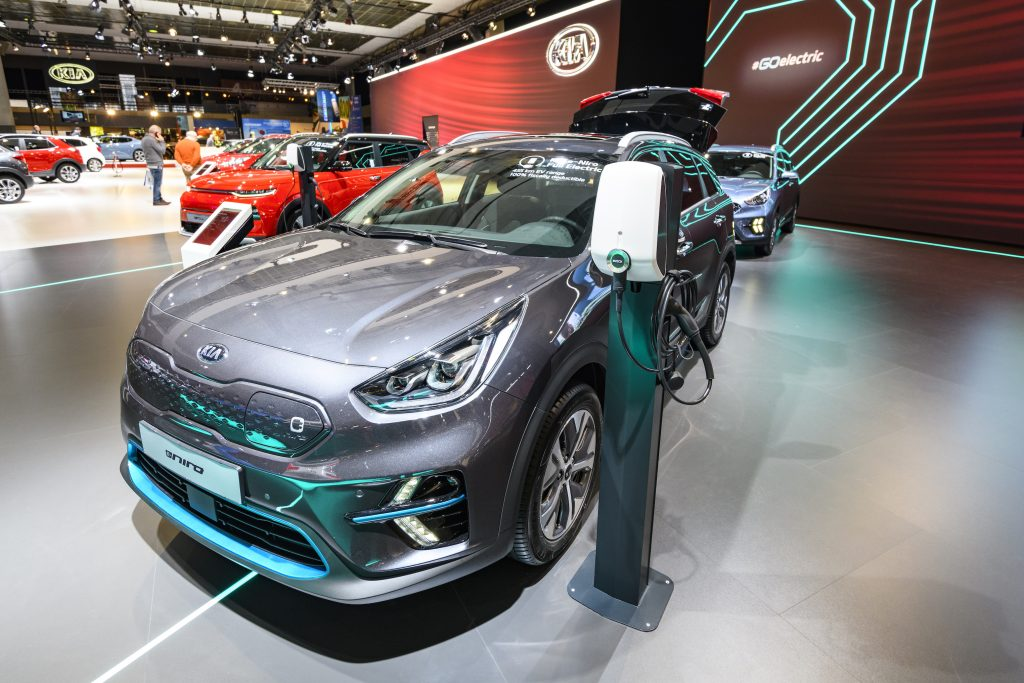 Gray Kia Niro EV all electric subcompact crossover on display at Brussels Expo