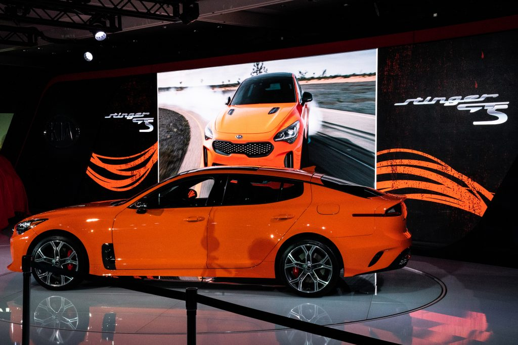 An orange Kia Motors Corp. Stinger vehicle is displayed during the 2019 New York International Auto Show (NYIAS)