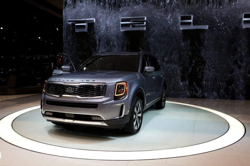Gray 2020 Kia Telluride is on display at the 111th Annual Chicago Auto Show at McCormick Place