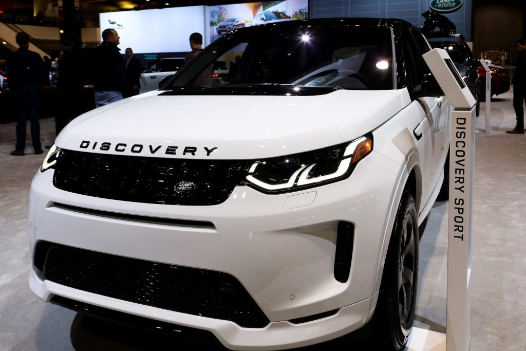 White 2020 Land Rover Discovery Sport is on display at the 112th Annual Chicago Auto Show