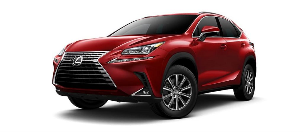 A red 2021 Lexus NX against a white background.