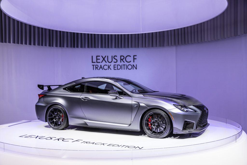 Silver Lexus RC F Track Edition during the Geneva International Motor Show