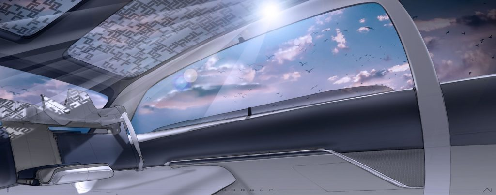 A concept sketch of the Lincoln EV's interior with a panoramic glass roof