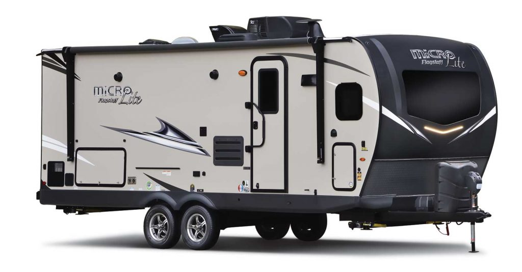 Forest River Flagstaff micro-lite trailer in a press photo against a white backdrop