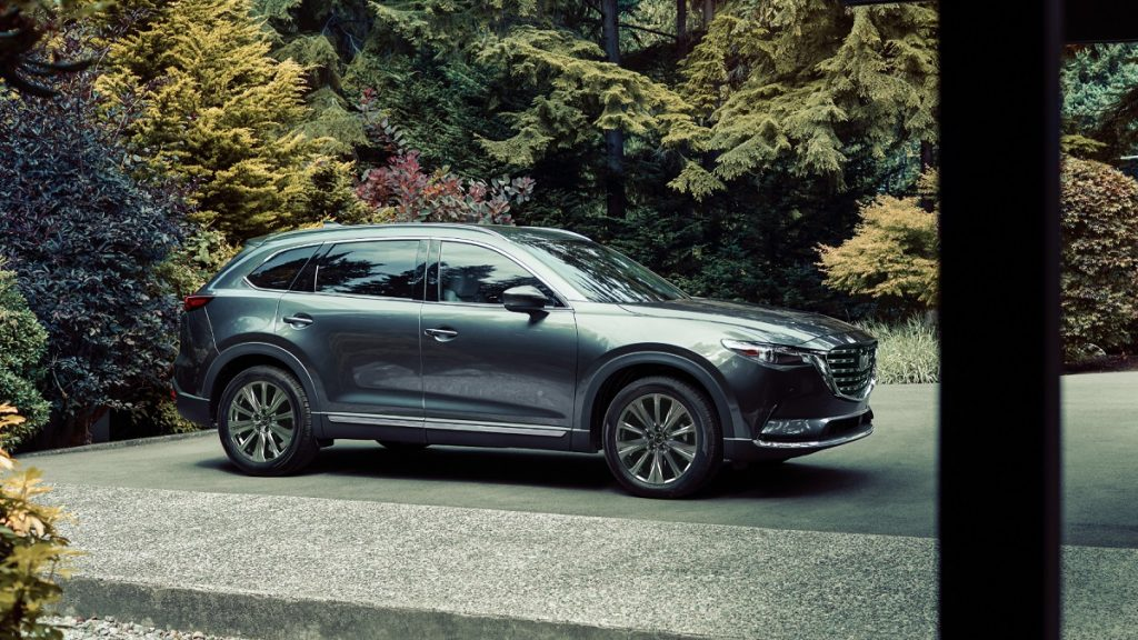 A dark-colored 2021 Mazda CX-9 sits in a driveway shrouded by shrubbery.
