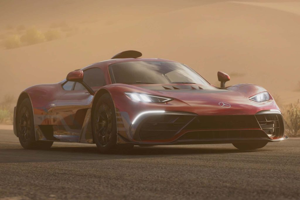 Screen grab of the Hero car for Forza Horizon 5, a Mercedes-AMG One. This new game represents one of the best car games of all time