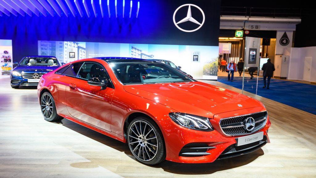 A red Mercedes-Benz E-Class.