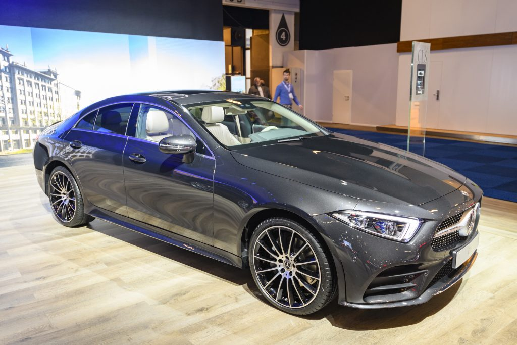 Gray Mercedes-Benz CLS-Class four-door fastback on display at Brussels Expo