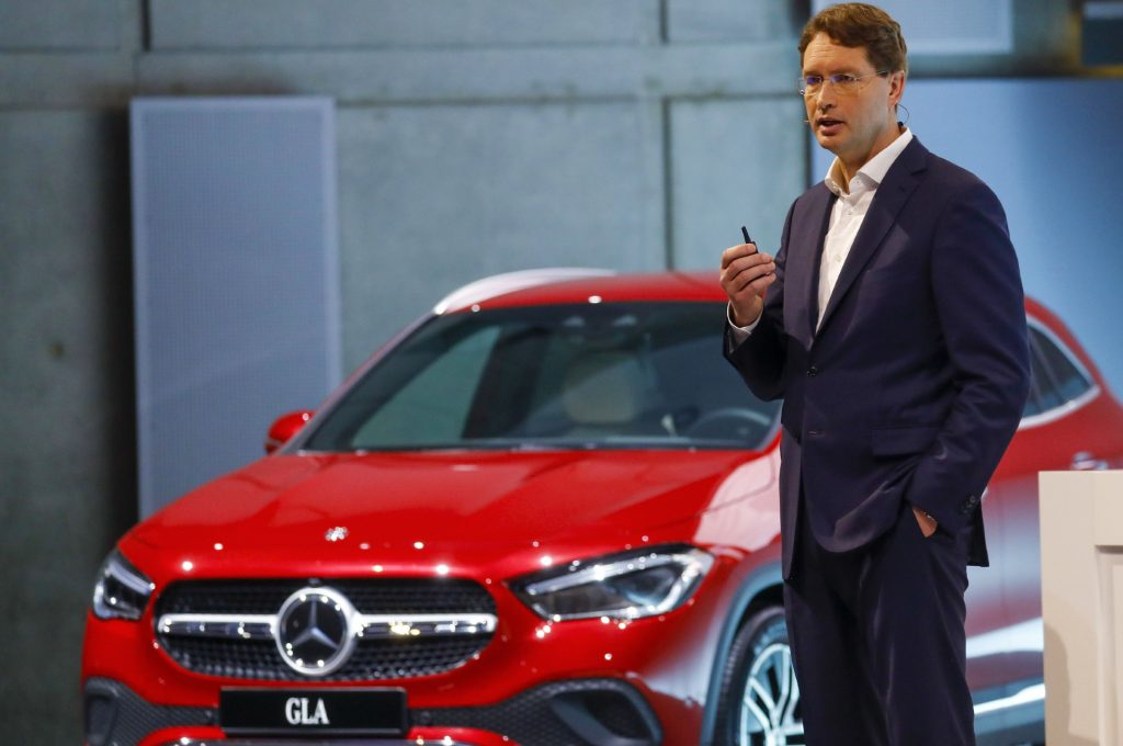 Red Mercedes-Benz GLA luxury automobile during the automaker's annual press conference in Stuttgart, Germany.