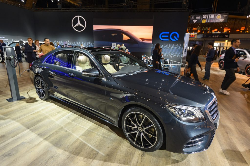 A Mercedes-Benz S-Class at an auto show, the S-Class is one of the best luxury cars for tall driver