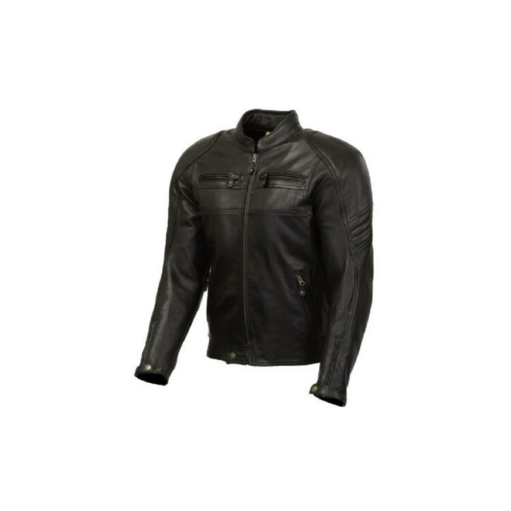 A black-leather Merlin Odell Air motorcycle jacket
