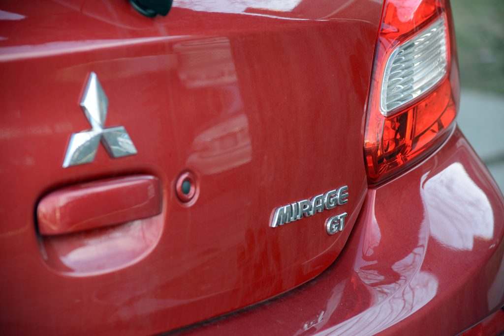 Red rear of a 2018 Mitsubishi Mirage GT.