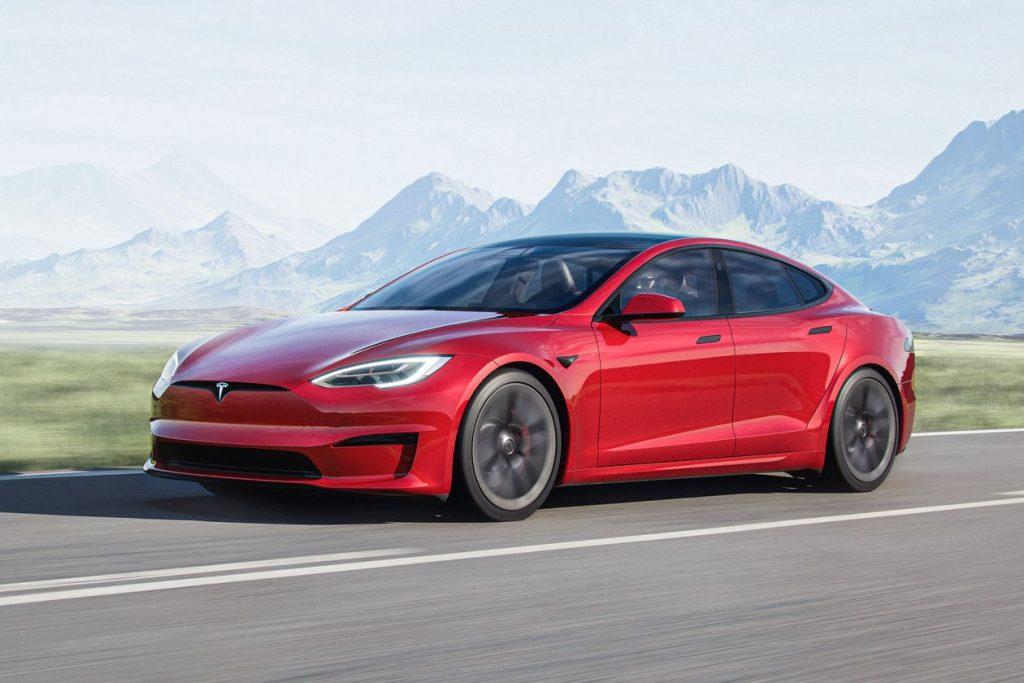 A red Tesla Model S Plaid
