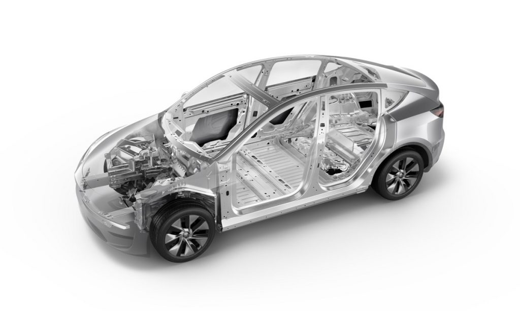 The cage of a Tesla Model Y. The Tesla Model Y is being recalled for a problem with its brake calipers.