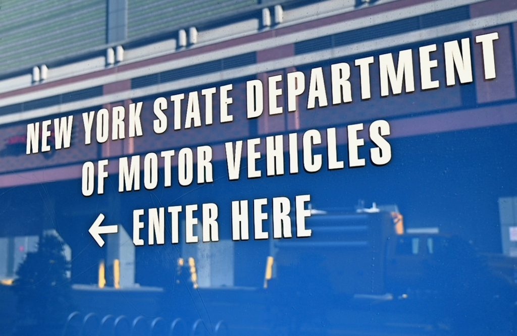 A view of the NY DMV's signage, if you lose your car's title, you will need to visit the DMV