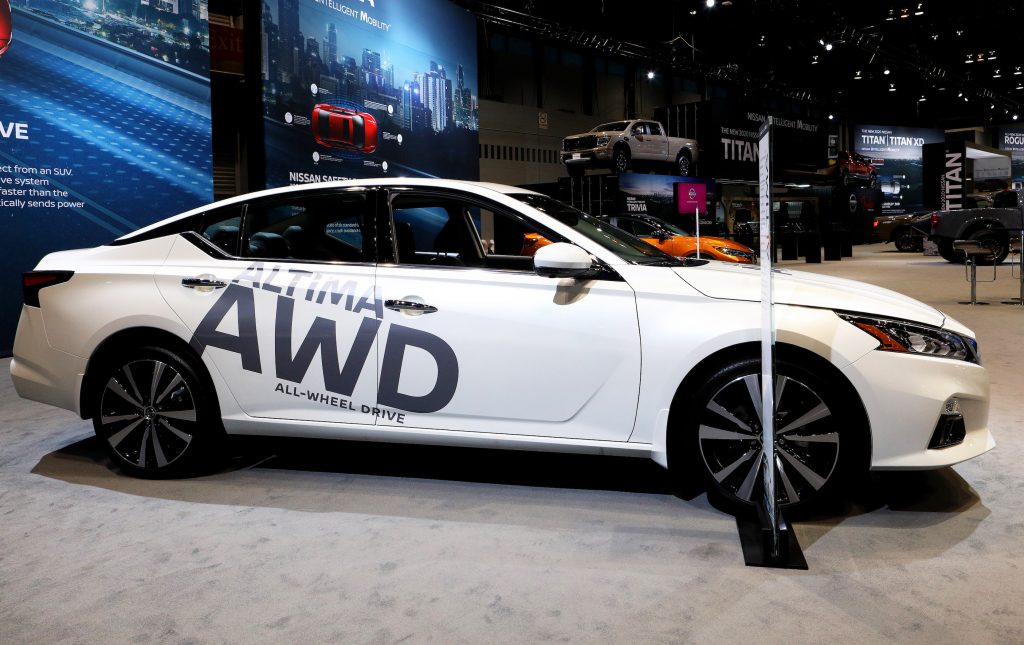 White 2020 Nissan Altima All Wheel Drive is on display at the 112th Annual Chicago Auto Show at McCormick Place
