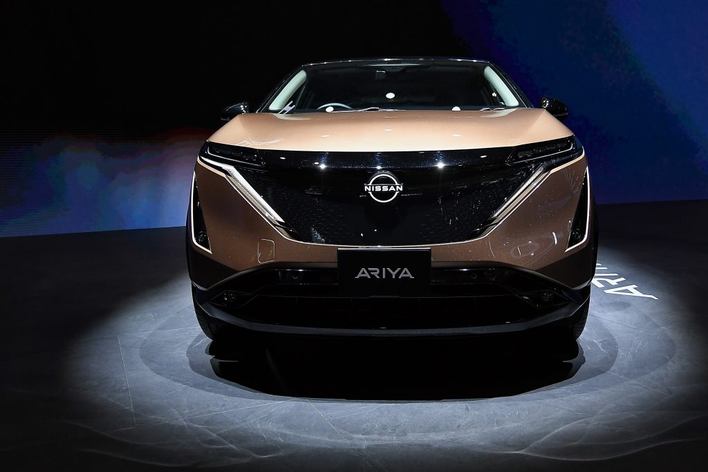 A bronze Nissan Ariya car is on displayed during the 19th Shanghai International Automobile Industry Exhibition