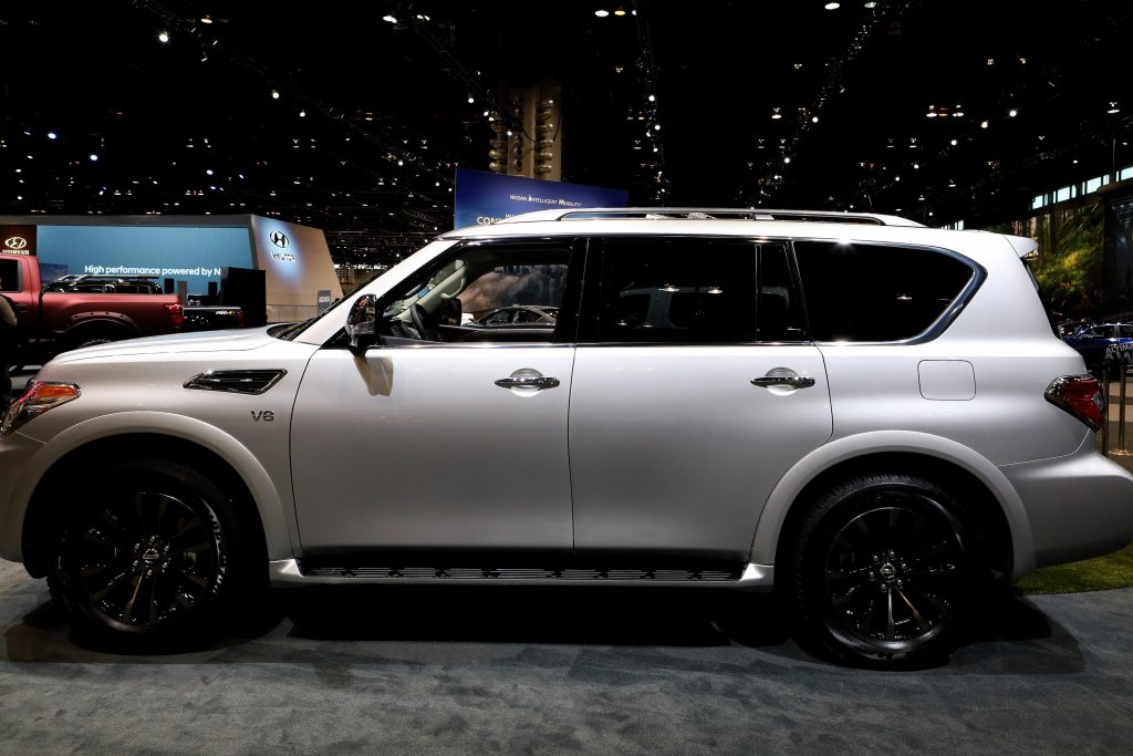 Silver 2019 Nissan Armada is on display at the 111th Annual Chicago Auto Show at McCormick Place