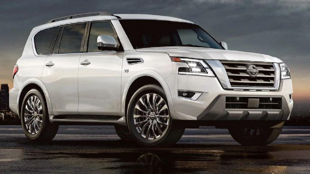 A white 2021 Nissan Armada as night sets in.