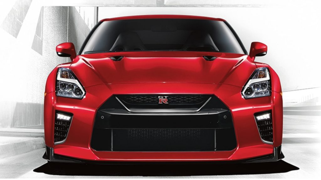 A red Nissan GT-R.